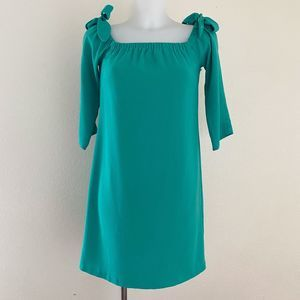Charles Henry Green Off-Shoulder Tie Dress Size XS